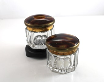 Vintage Crystal Dresser Jars with faux tortoise shell tops
