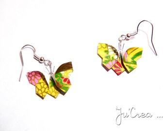 Origami butterflies earrings yellow