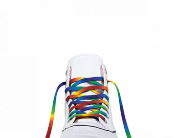 Tie Dye Rainbow Shoelaces by Wildflower Dyes