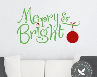 Merry and Bright Vinyl Christmas Seasonal Wall Holiday Decal Sticker
