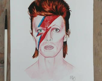 David Bowie - Ziggy Stardust - Aladdin Sane A4 watercolour print