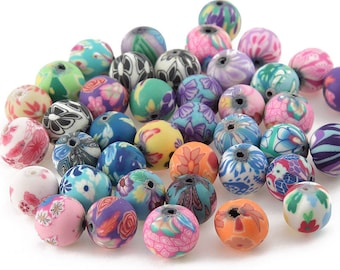 Polymer clay bead mixed colors floral flower patterned  8mm assorted