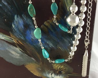 Turquoise & Sterling Silver Ball Necklace with Tassel