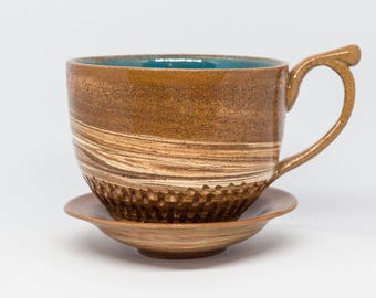 Handmade ceramic cup with relief. Pottery cup Brown pottery cup Handmade cup Handmade pottery Kind gift for her Coffee cup Saucer