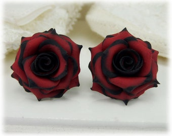 Black Tip Red Rose Earrings Stud or Clip On - Gothic Earrings