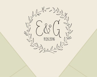 Custom wedding monogram stamp ,-wreath  Save The Date Stamp- Retro Wedding Stamp - Save the Date custom Rubber Stamp-custom stamps