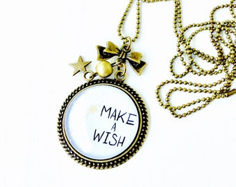 Bronze necklace - cabochon Make a wish star