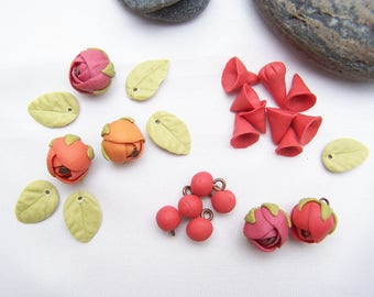 Beads, flower and leaves in cold porcelain