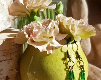 Beaded Tassel Dangle Earrings in Green