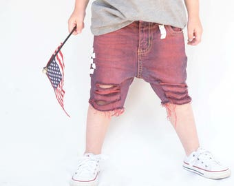 Red Patriotic Shorts for Boy's - Sizes 6m-12y - red denim - baby - infant - toddler - distressed shorts - cutoff toddler jeans - patriotic