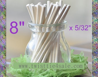 """100pcs 8"""" x 5/32"""" Paper  Lollipop Sticks for Cake Pops"""