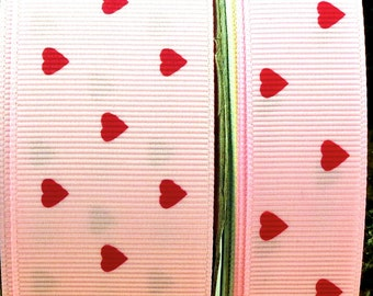 "2 Yards 7/8"" or 1.5"" Pink Cutie Hearts Print Grosgrain Ribbon - US Designer"