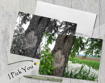 I Pick You! Digital tree carving with message, Field of Daisies, Card, Wedding, Under 5 dollars, Black and White OR Color