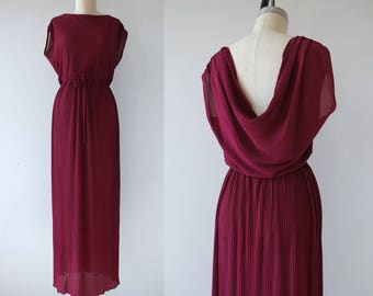vintage 1970s maxi dress / 70s grecian maxi dress / 70s magenta dress / 70s sheer ribbed dress / 70s full length dress / large L