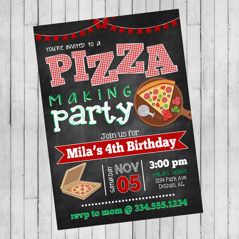 Pizza Party Invitation Pizza Making Birthday Pizza