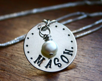 Sterling Silver hand stamped name necklace with pearl accent