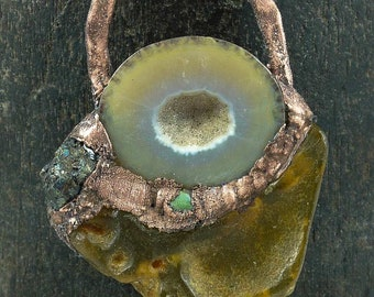 Copper Electroformed Pendant with Amber and Geode