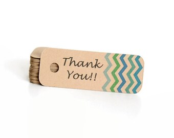 Thank You Tags / Chevron Gift Tags / Gift Tags / Wedding Favor Tags / Hang Tags / Kraft Tag / Favor Tags / Spring Gift Tags