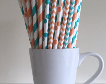 Orange and Teal Paper Straws Orange and Aqua Striped, Chevron, Polka Dot Party Supplies Party Decor Bar Cart Cake Pop Sticks Graduation