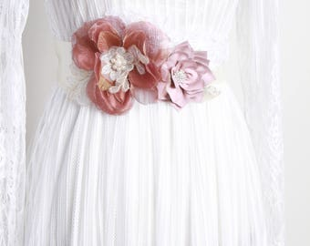 Bridal Sash Belt Wedding Dress Sashes Belts - Taupe Tan Gold Flower Sash Belt - Rustic Sash Belt Boho Bohemian Woodland Bridal