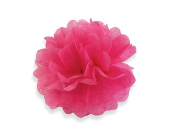 4 Inch Hot Pink Tissue Pom Poms - Paper Party Decor Decoration Supplies