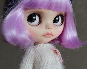 Violet, Custom Blythe Doll Ooak TBL, fake base, purple hair with bangs