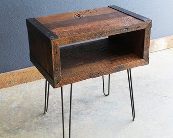 Authentic Industrial End, Side Table, TV Stand from Old barnwood with hairpin legs
