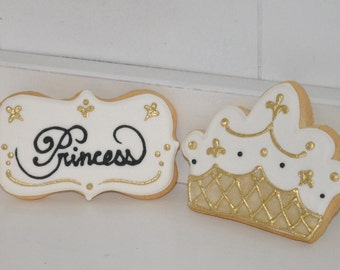 Gold Princess Crown Hand Decorated Sugar Cookies - 1 dozen