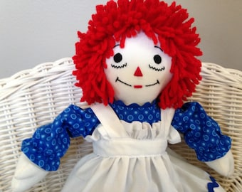 Mini Raggedy Ann Doll 15 inches tall Traditional Personalized Handmade in the USA Custom Doll Small Doll