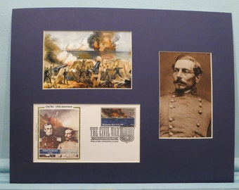The Civil War Begins as General Pierre Beauregard fires on Fort Sumter & First Day Cover of its own stamp