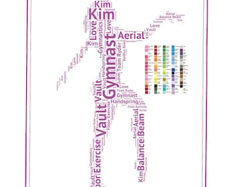 Gifts. Gift for Daughter, PERSONALIZED Gymnastics Gift Gymnast Gift Word Art Gymnast Gift Ideas Gymnastics Team Gifts 8 x 10 Print