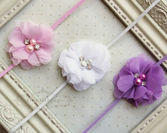 Headband Set- Lavender, White and Pink Headbands, pink headband, newborn headbands, girls headbands, photography prop