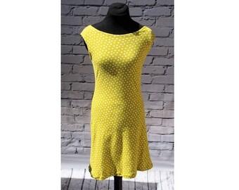 Boatneck Sundress, Summer Dress, Sleeveless Dress, Yellow Polka Dot Knit Dress, Casual Dress, Cotton Sundress, Organic Cotton Dress