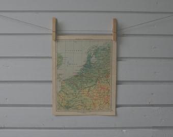 1956 Vintage Netherlands & Belgium Map