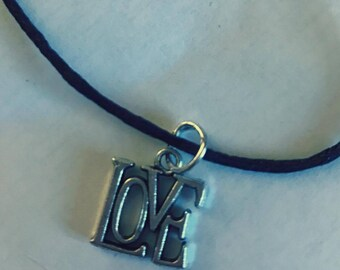 Love Silver Charm Choker Necklace