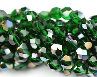 Czech Glass Beads Fire Polished Faceted Rounds 6mm Emerald Celsian (25) CZF629