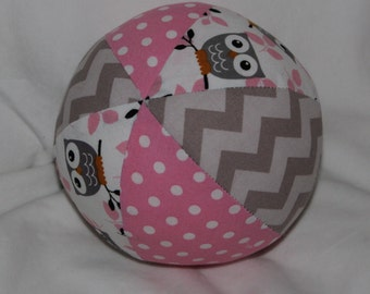 Pink and Gray Owls Boutique Ball Rattle Toy