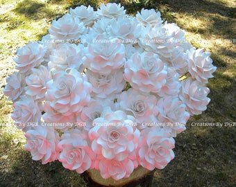 White Pearl Stemmed Paper Roses - MADE TO ORDER - 25 pcs- For weddings, bouquets, centerpiece, bridal and baby shower