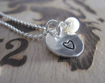 Reserved for Megan...Hand Stamped Heart Necklace Freshwater Aquamarine Sterling Silver