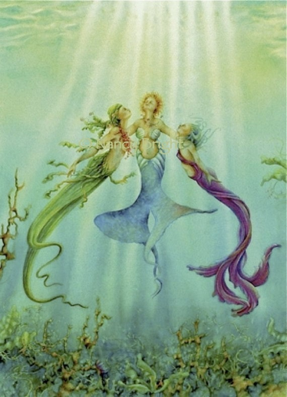 Sisters Of The Sea Three Mermaids Bask Underwater In The