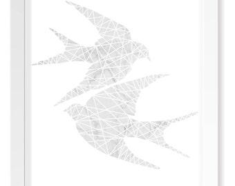 White Marble Geometric Love Birds Print / Minimalistic Scandinavian Poster Art / Animal Cutout Silhouette