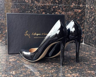 Stiletto heels / Black Lackqured / Leather Shoes / Open Shoes / Summer Shoes / High Heels / Handmade Shoes / Open Toe