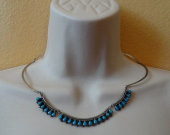 Vintage Taxco Mexico Sterling Silver Turquoise Scalloped  Link Necklace
