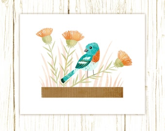 Lazuli Bunting Print -- bird art -- colorful bird art 52 birds stephanie fizer coleman illustration