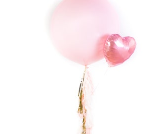 Giant Pink Balloon with Pink Heart Mylar Balloons / Birthday Gift Bouquet / Pink Bridal Shower / Pink Bachelorette / Engagement / Wedding