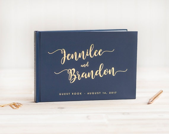 Wedding Guest Book landscape guestbook horizontal wedding book Personalized Navy Gold Foil hardcover wedding guest book wedding journal