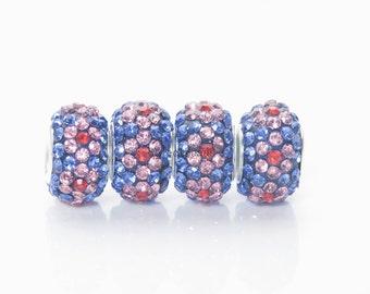big hole rhinestone crystal rondelle beads - daisy flower shambala European Charms - crystal plymer clay beads - 10x15mm rondelles  beads