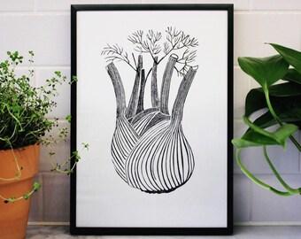 Fennel Lino Print, Handprinted Linocut, Vegetable Print, Kitchen Art, Gifts for Chef, Vegetable Art, Black and White
