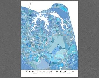 Virginia Beach Map, Virginia City Map Art Print US, Blue