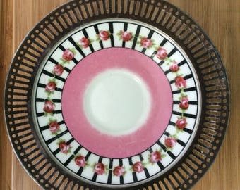 Antique Gorgeous George Jones & Sons Ltd Crescent hand decorated plate with metal border/ side dish/decorative plate
